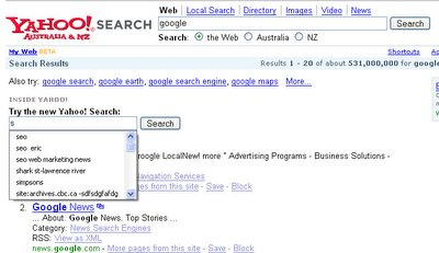 Yahoo Marketing Yahoo Search in its Google Results