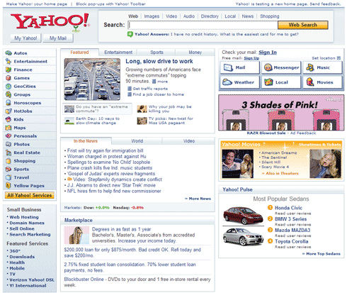 No Yahoo Directory Links on New Yahoo Homepage?