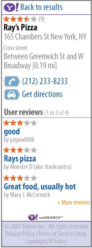 Yahoo oneSearch Pizza