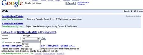 Google Onebox Real Estate Search