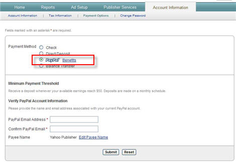 Yahoo Publisher Network : PayPal Payments