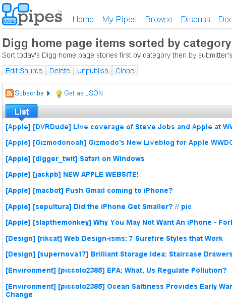 Digg home page by category and submitter