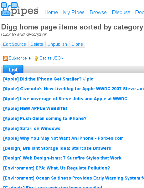Digg home page by category