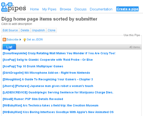 Yahoo Pipes - digg homepage sorted by submitter