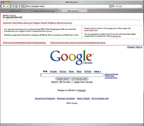 ISP Injecting Yahoo Logo & Own Ads on Google Homepage, Google is Not Happy