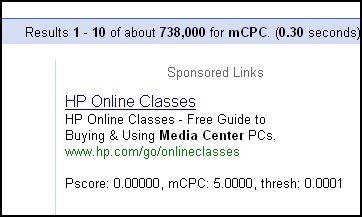HP's Ad Showing for mCPC