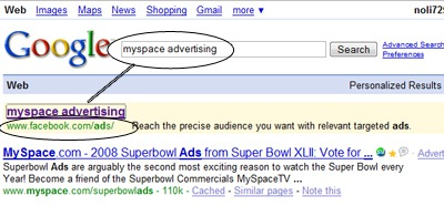 """Google Ad for """"MySpace Advertising"""" Shows Facebook Ads Results"""