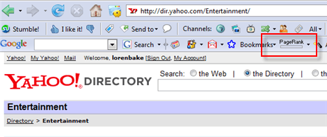 Yahoo Directory PageRank