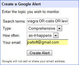 use Google Alerts to find out if your site gets hacked