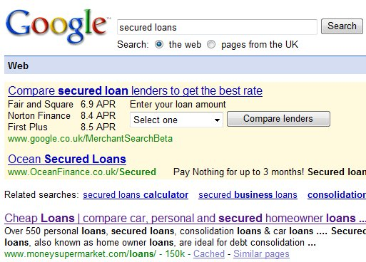 Google UK Merchant Search Loan Quotes