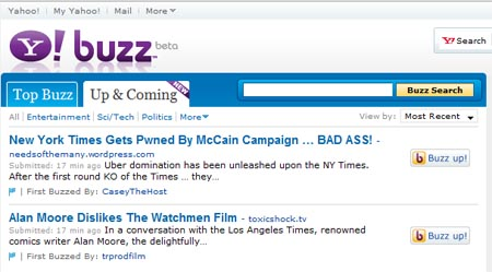 "Yahoo Adds ""Up and Coming"" Buzz"