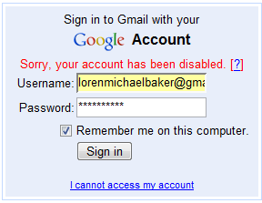 GMail Disabled