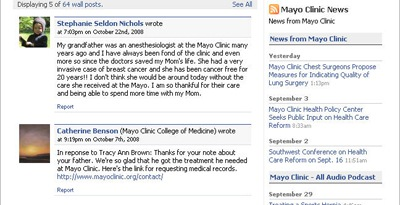 Mayo clinic facebook fan page