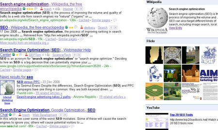 Google Search Sidebar for FF3 from Wikipedia, Dictionary.com, Flickr, and Youtube