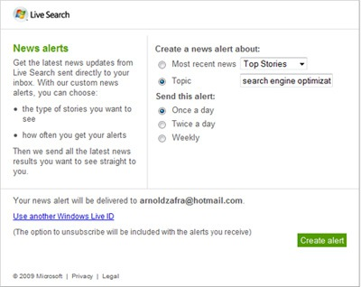 Windows Live Search Rolls Out News Alerts Service