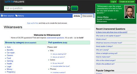 Wikianswers Q&A Site Launched by Wikia