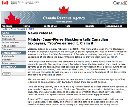 The official press release and video ads on CBC direct Canadians to that URL.