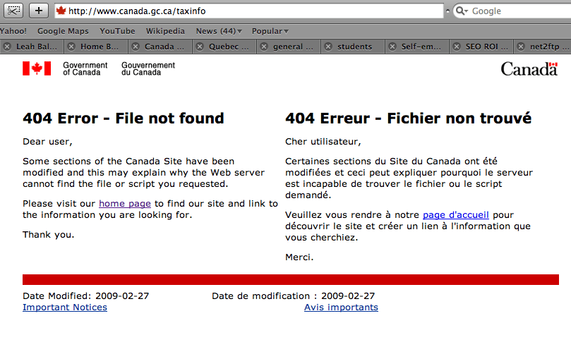 www.canada.gc.ca/taxinfo returns a 404 Not Found error.