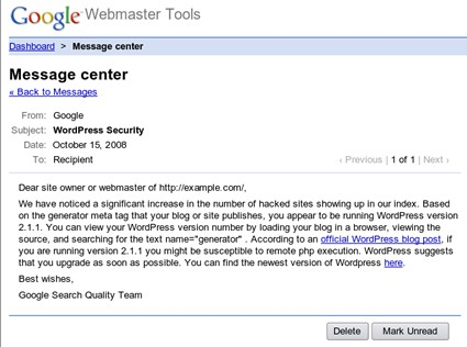 Google message sent to hacked sites