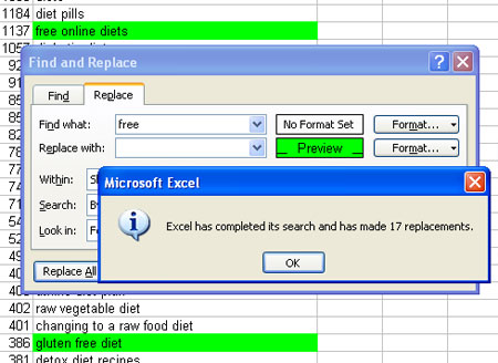 Excel: frequent modifiers