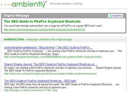 Ambiently Discovery Engine : Find More Related Information