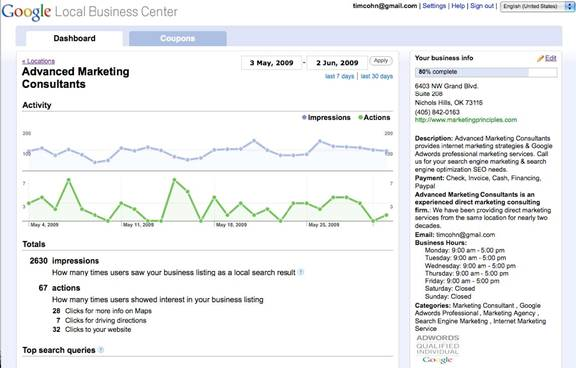 Google Local Business Center Dashboard Overview