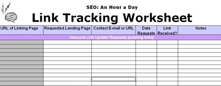 Your SEO plan link building work sheet