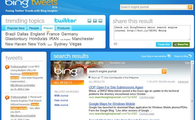 BingTweets Integrates Twitter and Bing Search, Literally