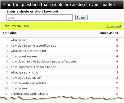 "Wordtracker's ""Keyword Questions"" tool"