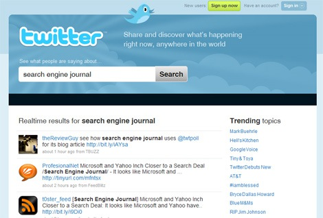 Twitter Highlights Search on New Home Page