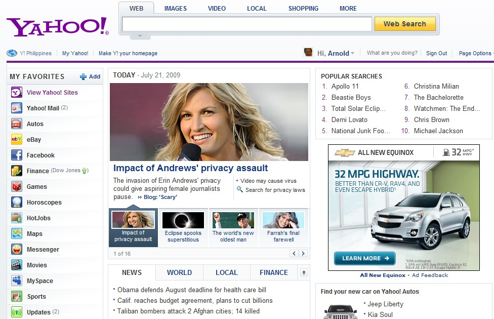 Yahoo Rolls Out New Portal Design
