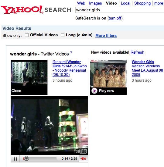 Yahoo Video Search Gets In-Line Play Back