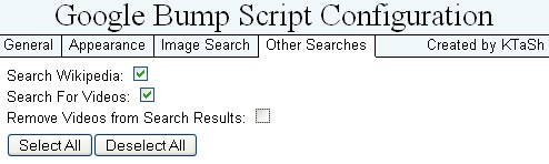 Google bump: other searches