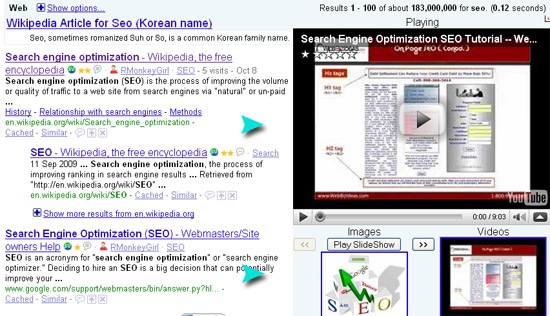 Google bump: video and image search