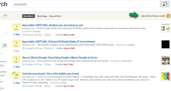 Digg search feed