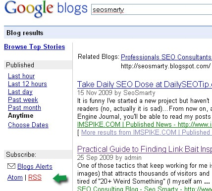 Google blog search feed