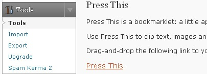 Press This for WordPress - installation