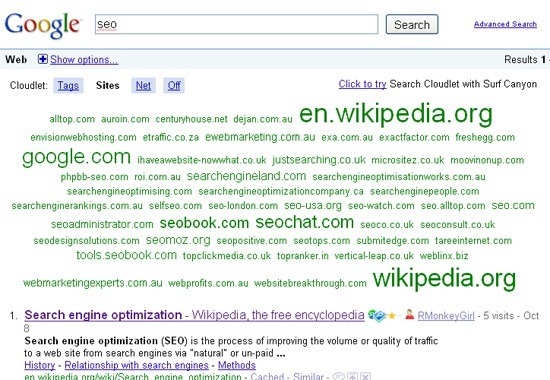 Search Cloudlet: Google search