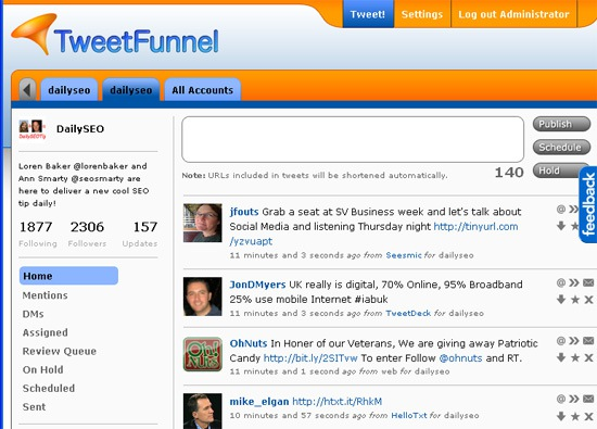 TweetFunnel: dashboard