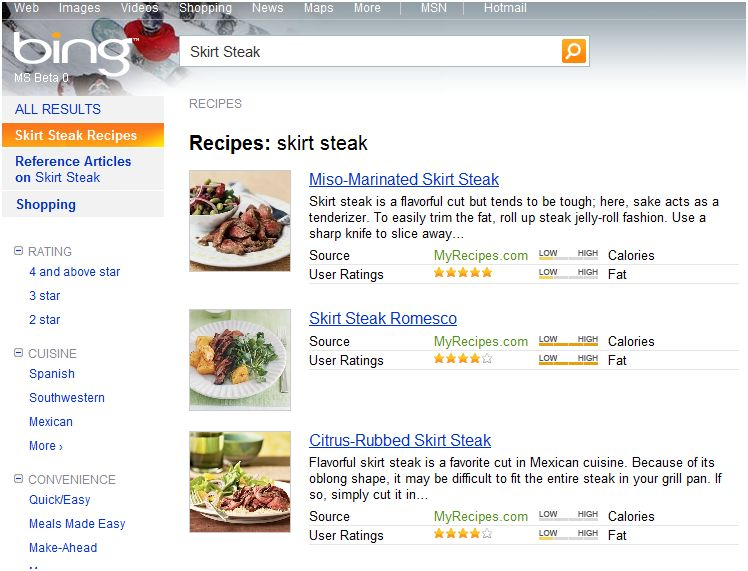 Bing Recipes Results