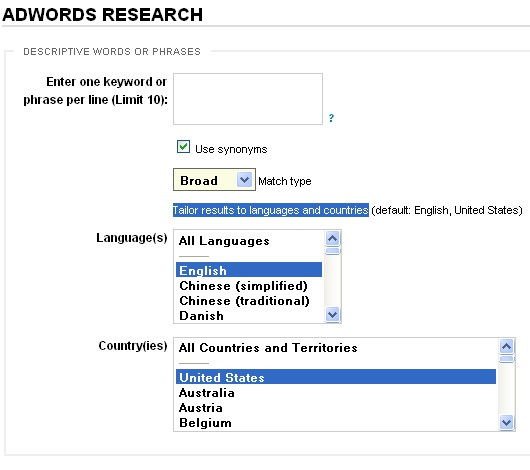 Raven tools: Gogle keyword research tool