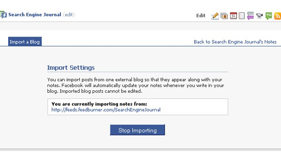 Promote Facebook fan page: import blog feed