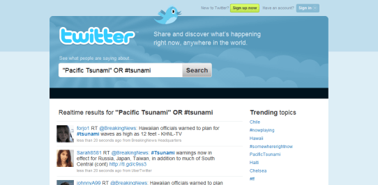 Track Tsunami Warnings Online with NOAA, Twitter & Search