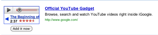 YouTube iGoogle Widget