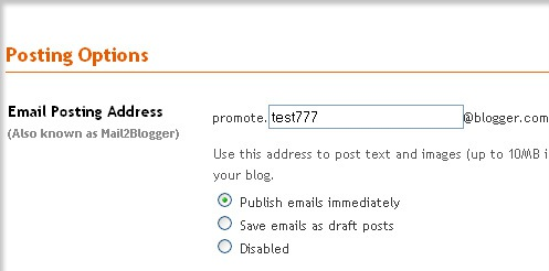 Blog from email: Blogger settings