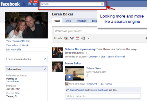 Facebook Learns from Google : Centers Search Box on Redesign