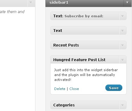 Wordpress Plugin: Hungred Feature Post List - widget