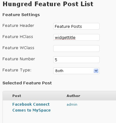 Wordpress Plugin: Hungred Feature Post List