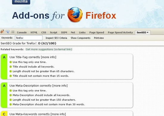 Easy On-Page Diagnosis with SenSEO (FireFox)