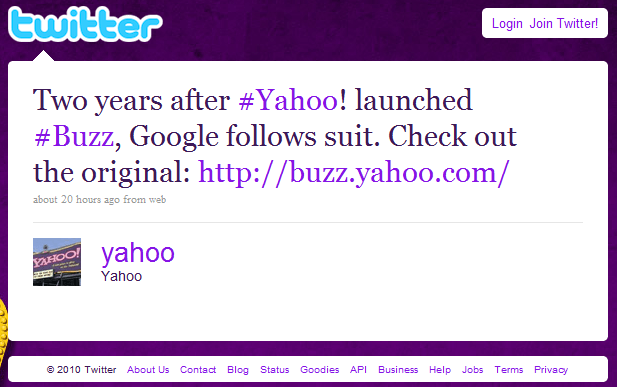 Yahoo about Google Buzz